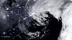A satellite image of the January 27, 2015 historic blizzard near peak intensity as it moves over New York and Boston. Credit: NASA/NOAA/NPP/VIIRS