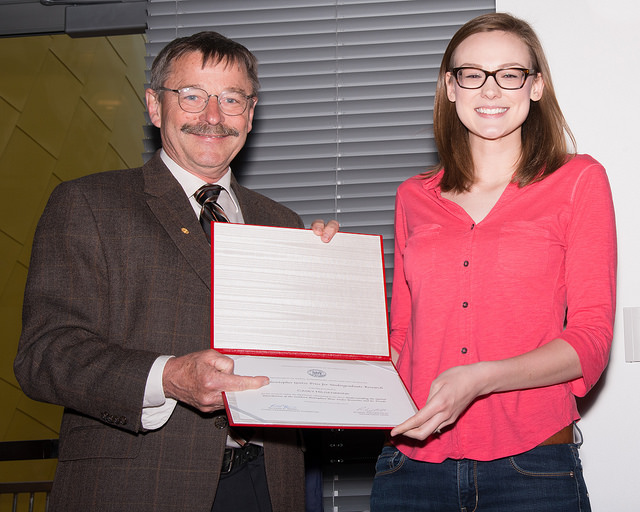 PAOC undergraduate student Casey Hilgenbrink ('15) receives the Goetz Prize.