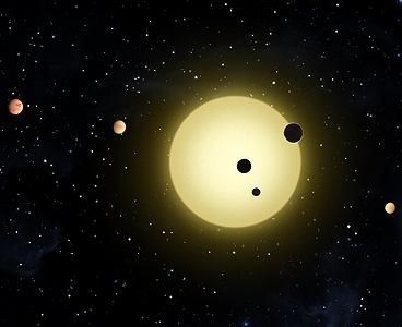 Kepler-11 is a sun-like star around which six planets orbit. At times, two or more planets pass in front of the star at once, as shown in this artist's conception of a simultaneous transit of three planets observed by NASA's Kepler. Image: NASA/Tim Pyle
