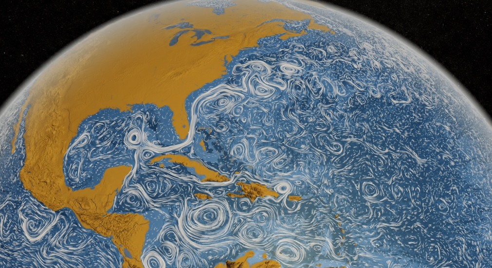 A visualization of ocean currents and eddies based on satellite observations and MIT's General Circulation Model (MITgcm). Flierl studies how eddies affect various ocean properties and life. (Image Credit: NASA/SVS)