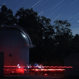 A composite image of the student visit to Wallace Observatory. The stars of Pegasus can be seen rising over the trees. Credit: Amanda Bosh