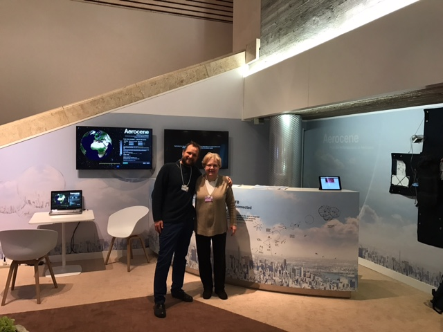Illari and Saraceno in front of the Aerocene installation at the World Economic Forum Annual Meeting, Davos, Switzerland. (Credit: Lodovica Illari)