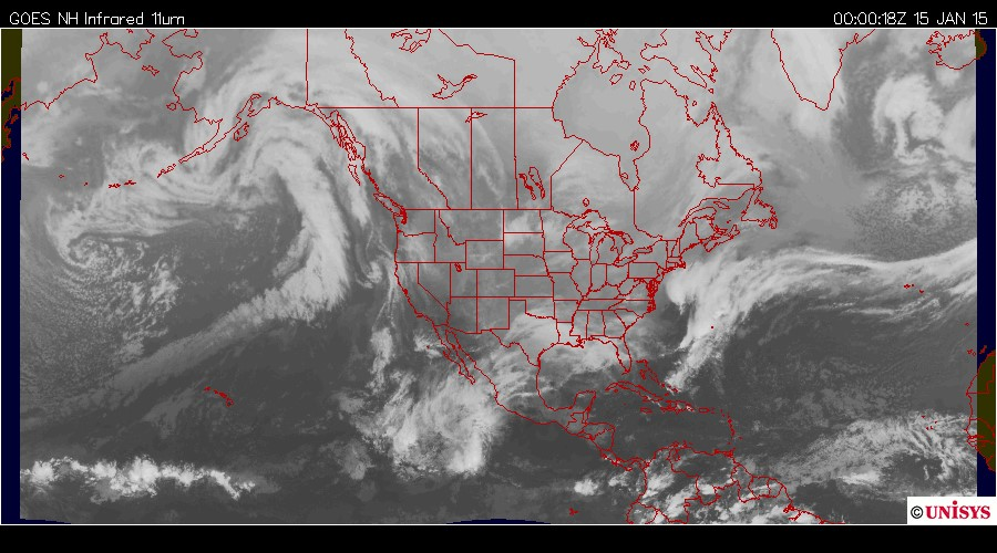 Fig. 2: The synoptic situation on January 15, 2015 at 00z: a) IR satellite image from GOES West satellite.