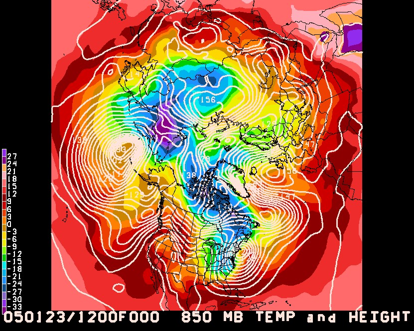 Fig 3:  The 850 mb temperature in ˚C on: b) January 23, 2005. On both occasions (Fig3.a and b) we observe a blocked flow over the US with warm to the west and cold to the east. Consequently, a strong snow storm develops over Boston in both years.