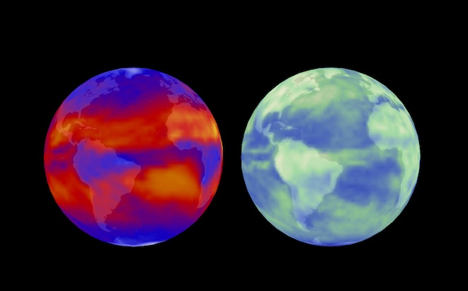 This image contrasts outgoing longwave radiation (left) and reflected shortwave solar radiation (right). Credit: NASA