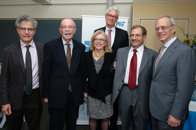 Left to right: School of Science Dean Michael Sipser, Emeritus Professor Peter Stone, Professor Paola Malanotte (Stone) Rizzoli, EAPS head Robert van der Hilst, former dean of the School of Science Marc Kastner, and President L. Rafael Reif. (Photo: J. Gillooly)