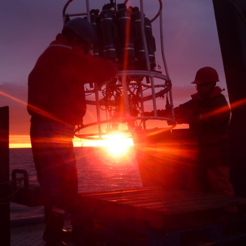 An working in the Chukchi Sea to the Arctic sunset/rise. Photo credit: Nikita Kusse-Tiuz of Arctic and Antarctic Research Institute in St. Petersburg.
